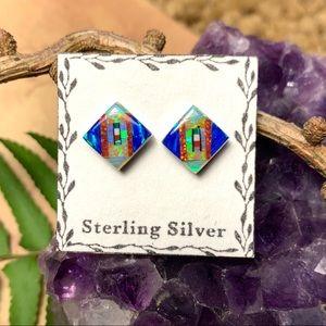 🌹NWT Sterling silver Zuni opal posts earrings